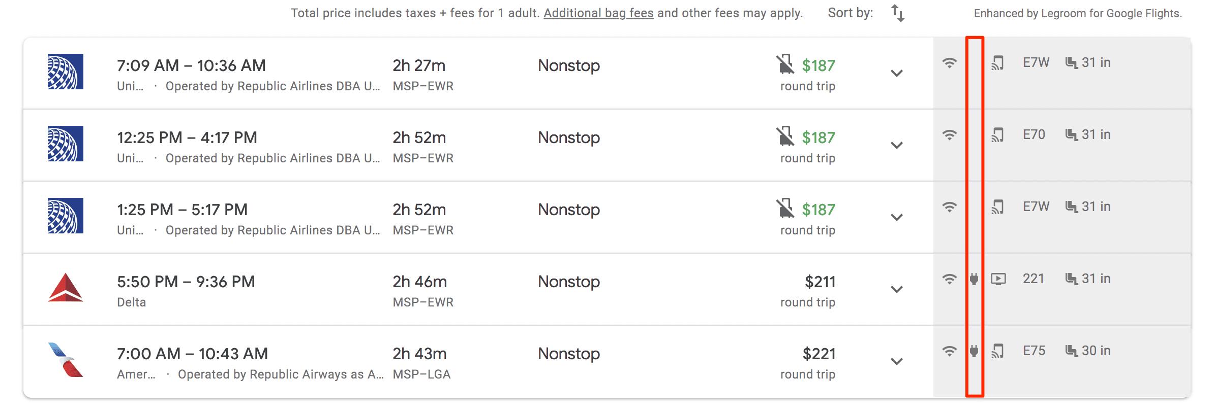google flights legrooms charging