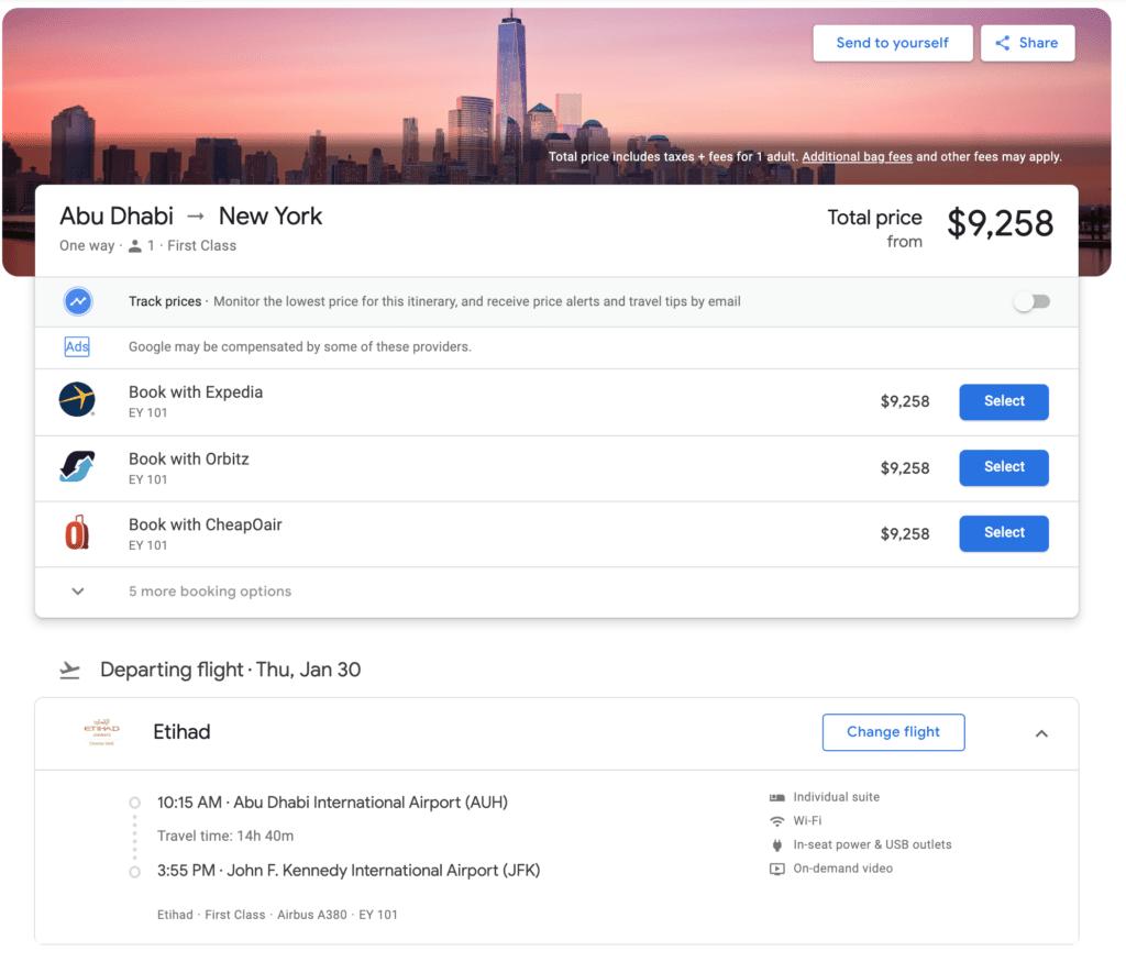 Etihad Booking Cash Price