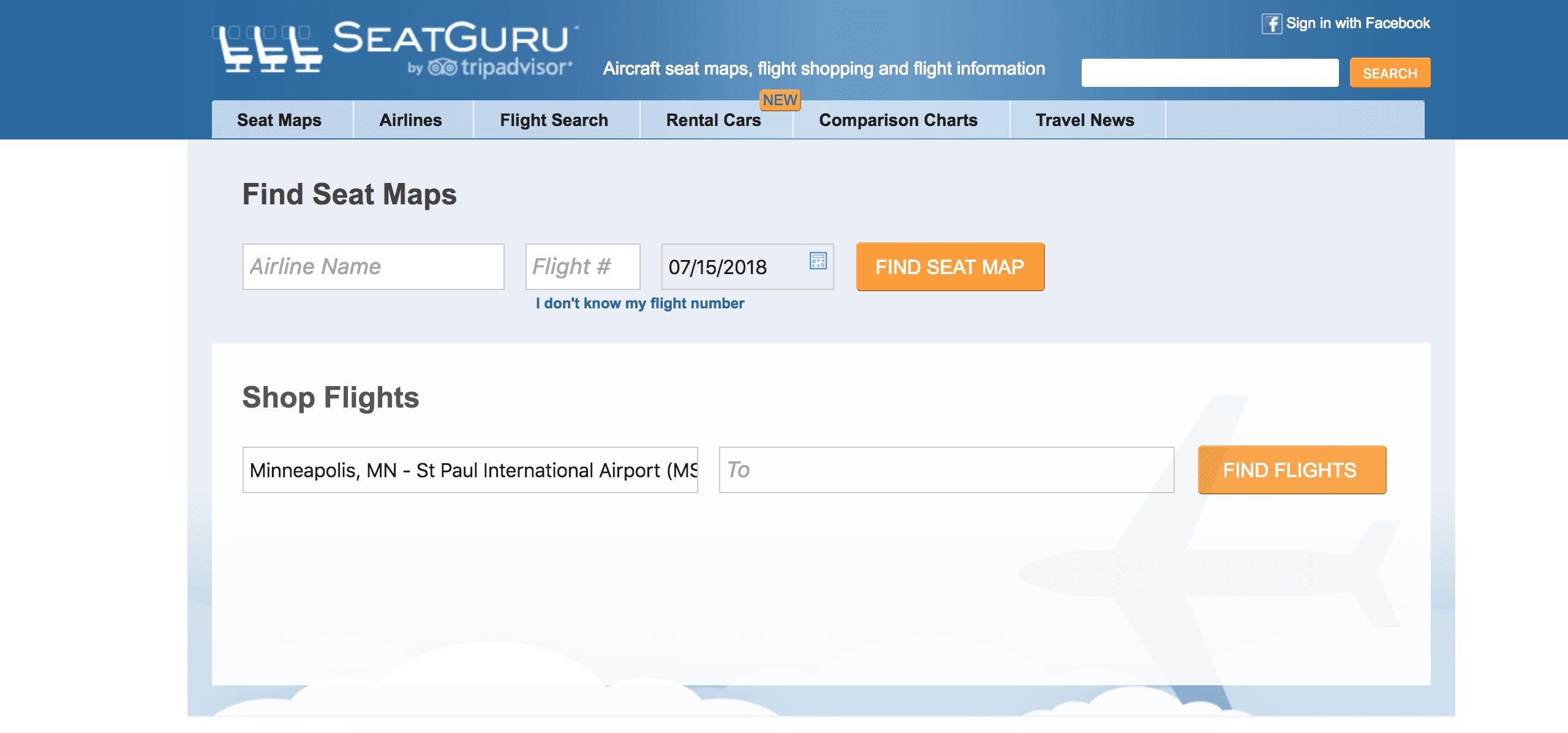 SeatGuru homepage