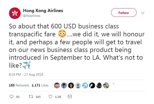 Hong Kong Mistake Fare
