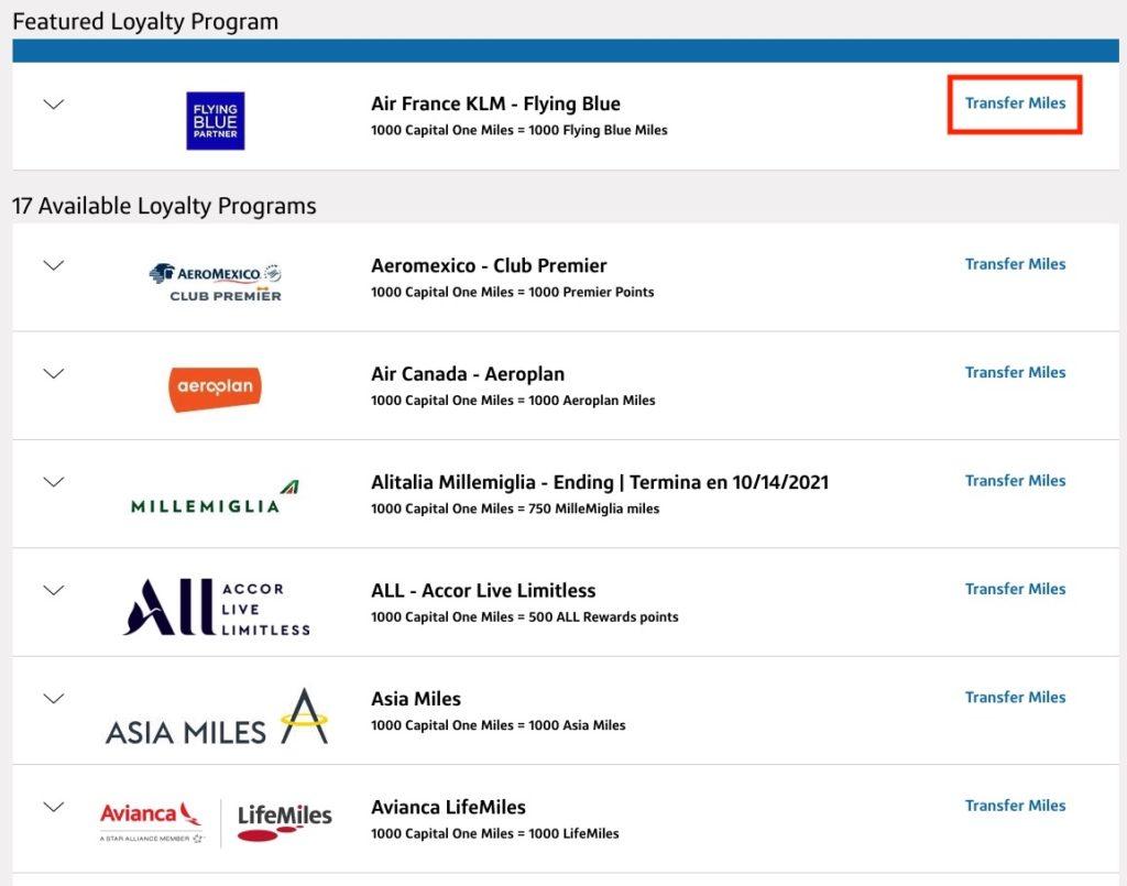 capital one transfer partners
