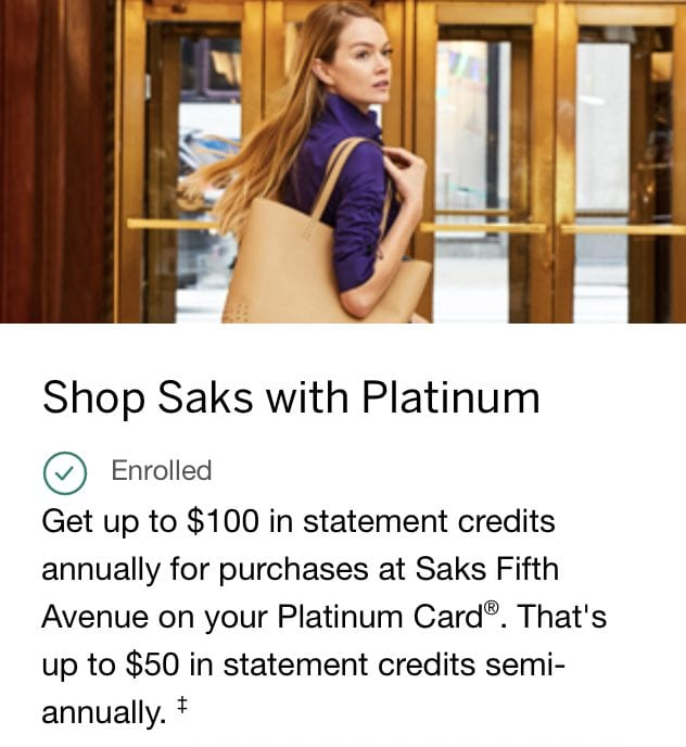 saks shopping credit amex platinum
