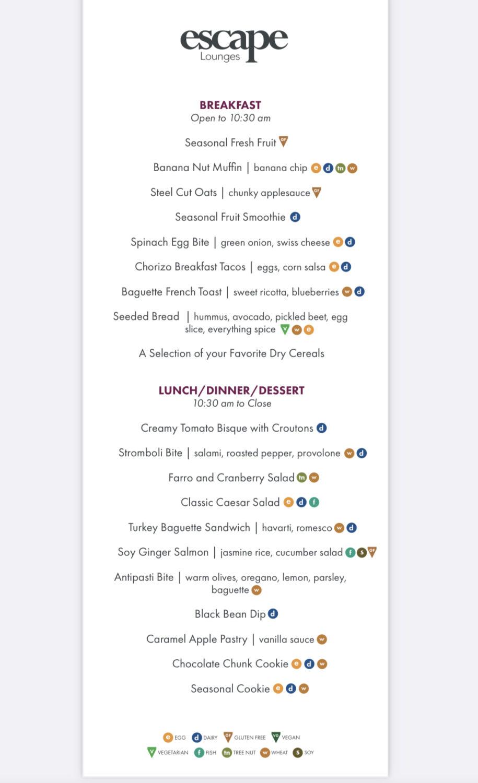 escape lounge MSP food menu