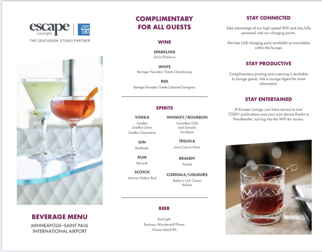 escape lounge MSP drink menu