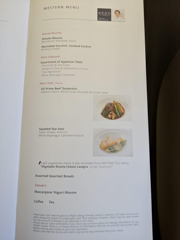 Japan Airlines Food