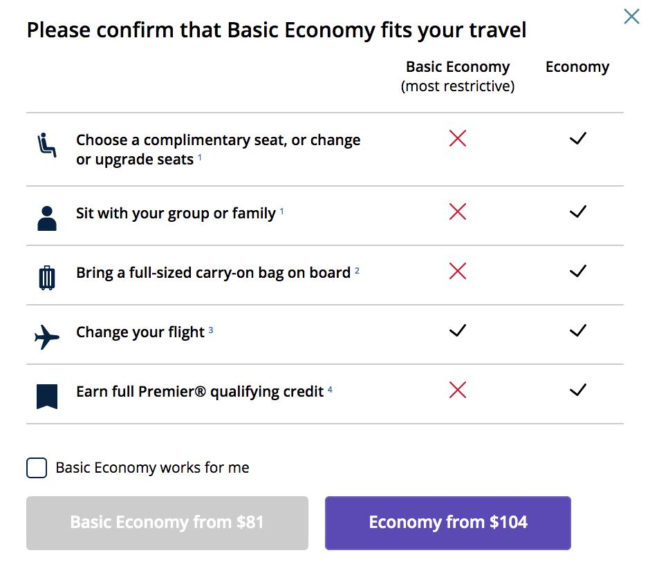united basic economy fare