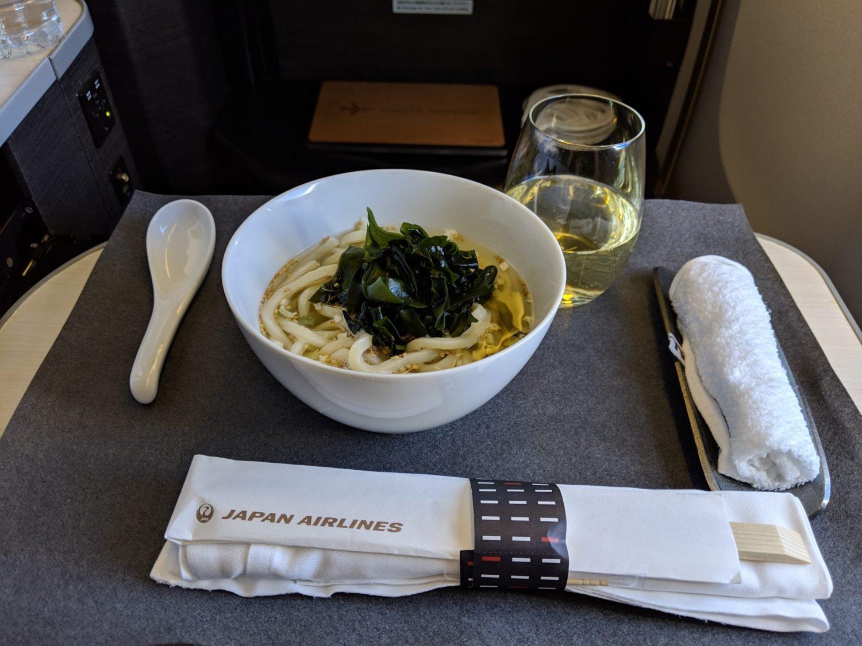 Japan Airlines Business Class udon noodles