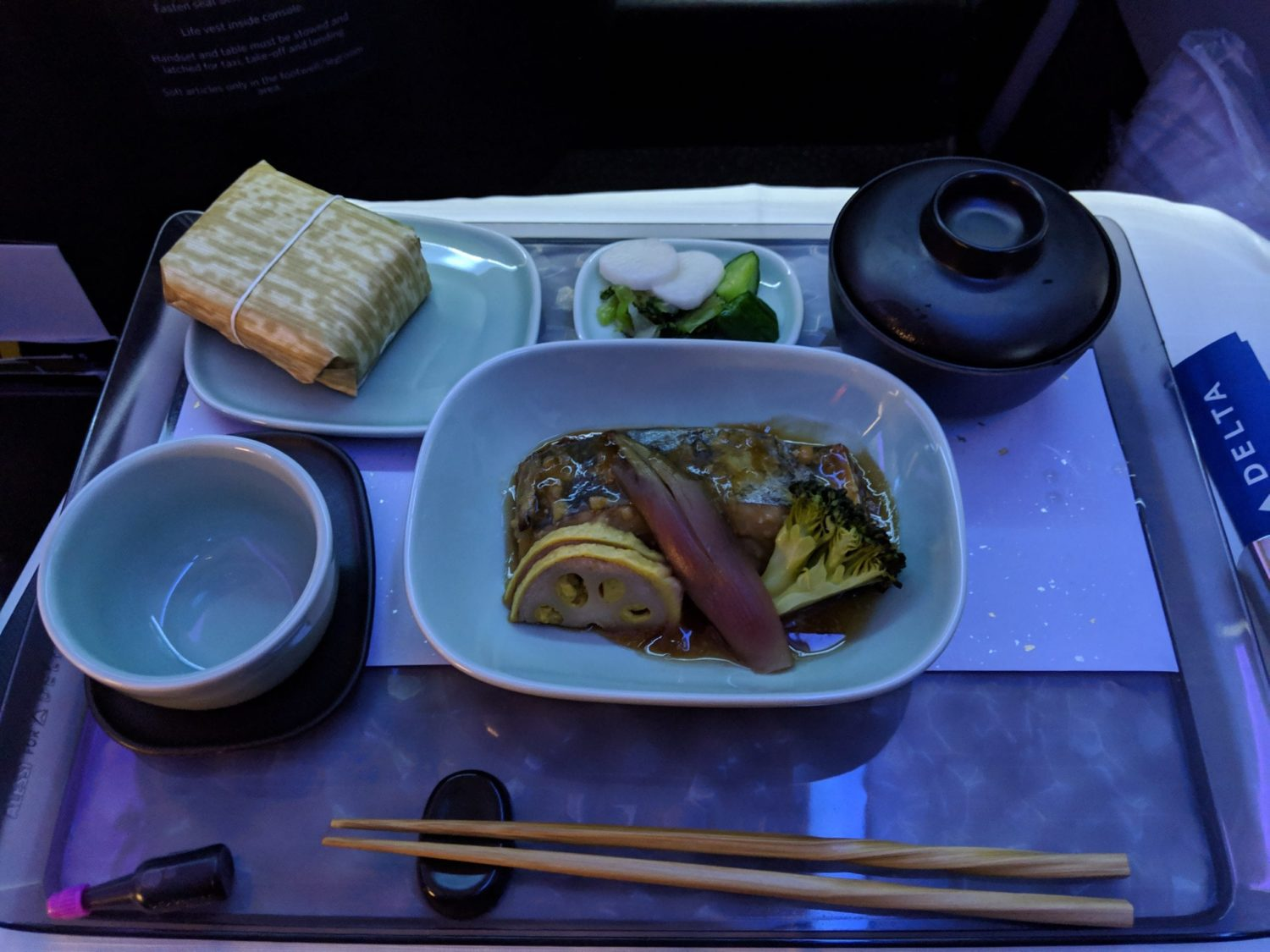 Delta One Suite meal