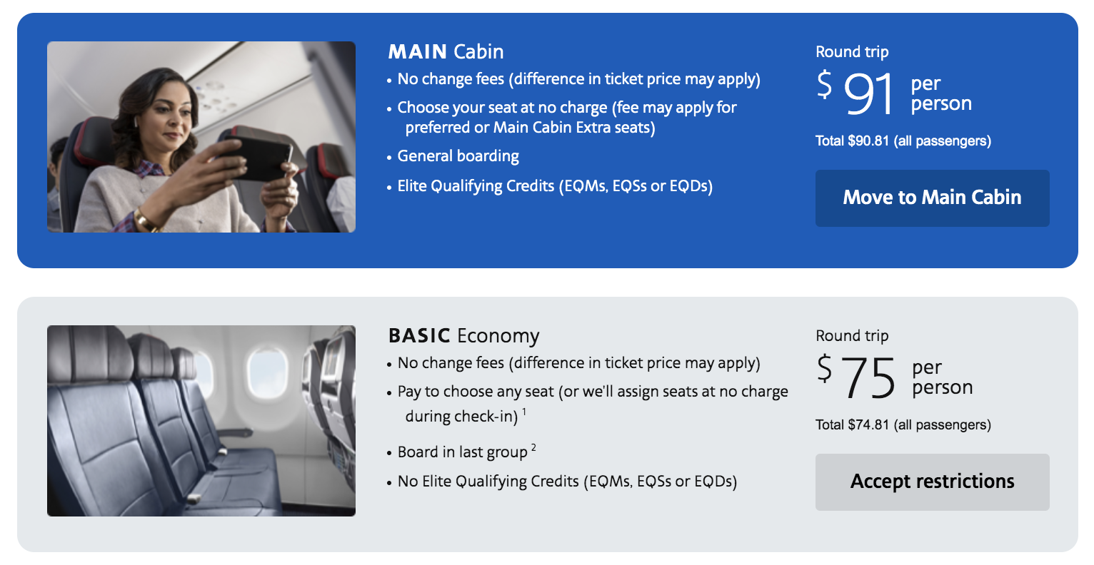 American airlines basic economy warning