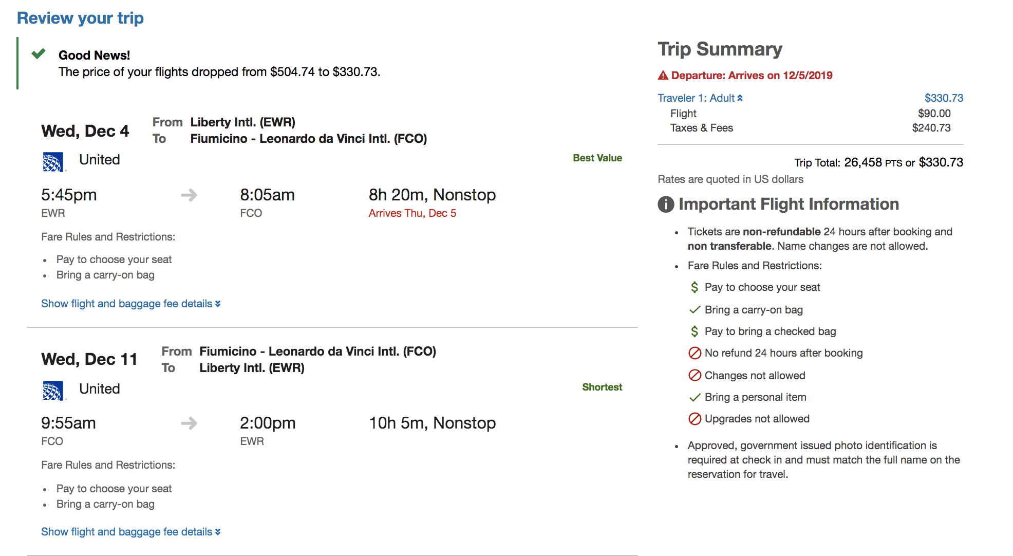 chase portal - ewr fco after price drop - Thrifty Traveler