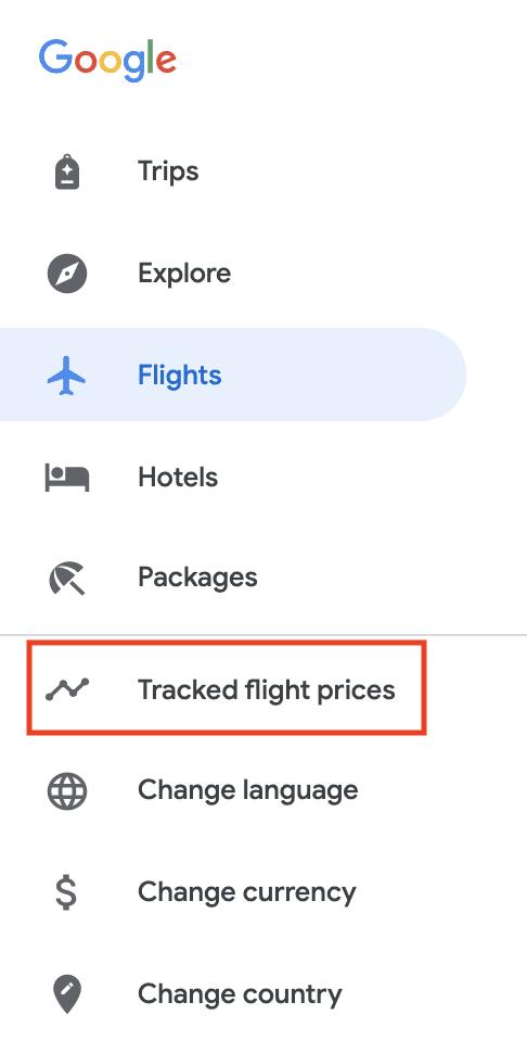 tracked flight prices
