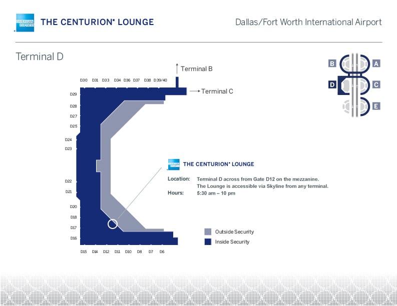 DFW Centurion Lounge map