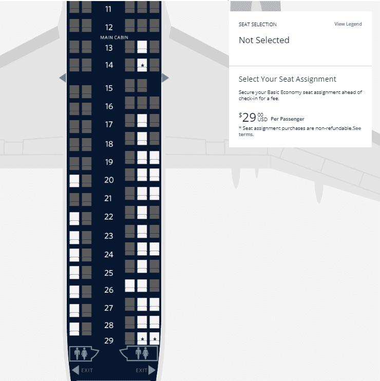 Delta basic economy fares seat map
