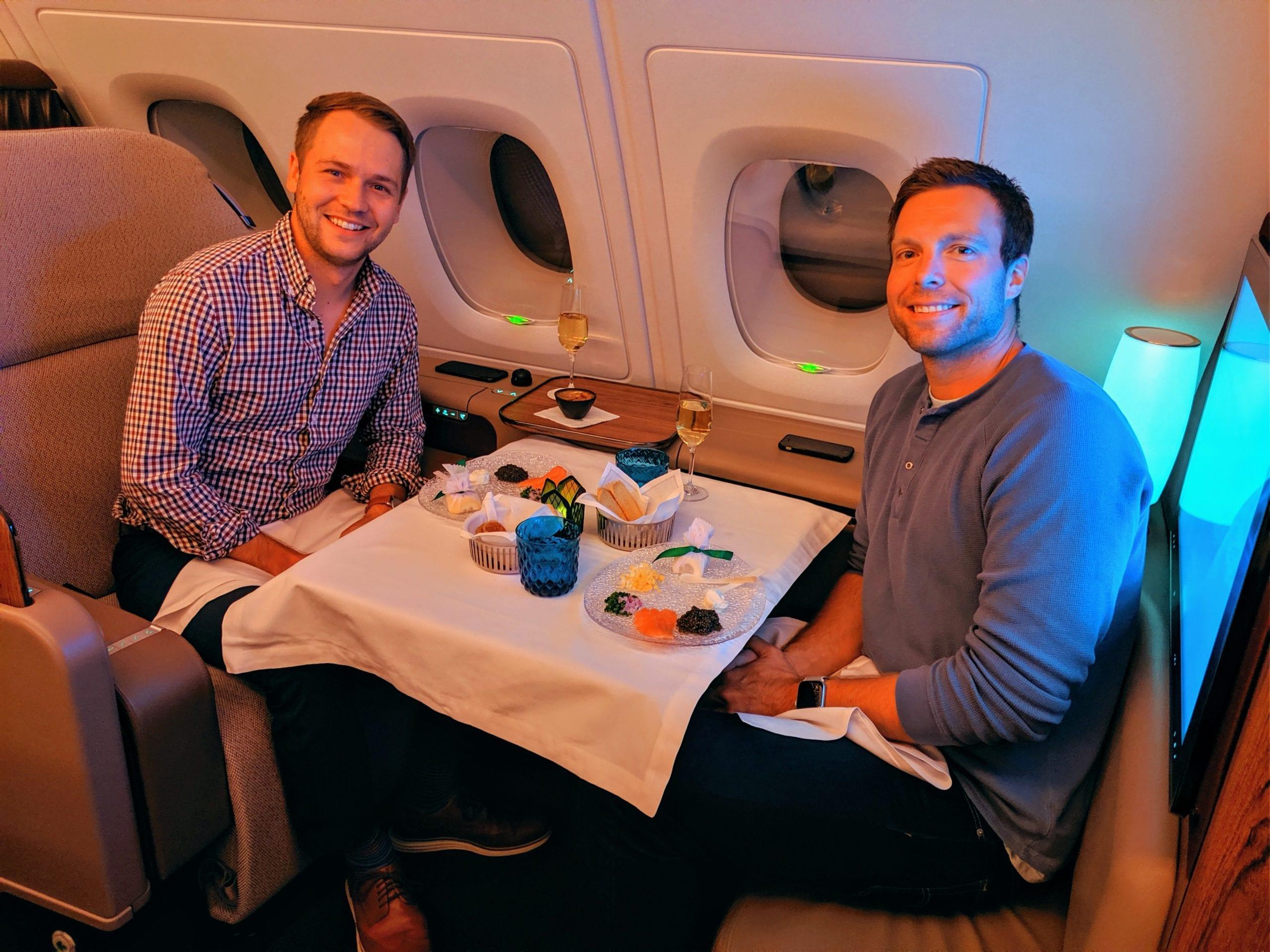 qatar airways first class caviar
