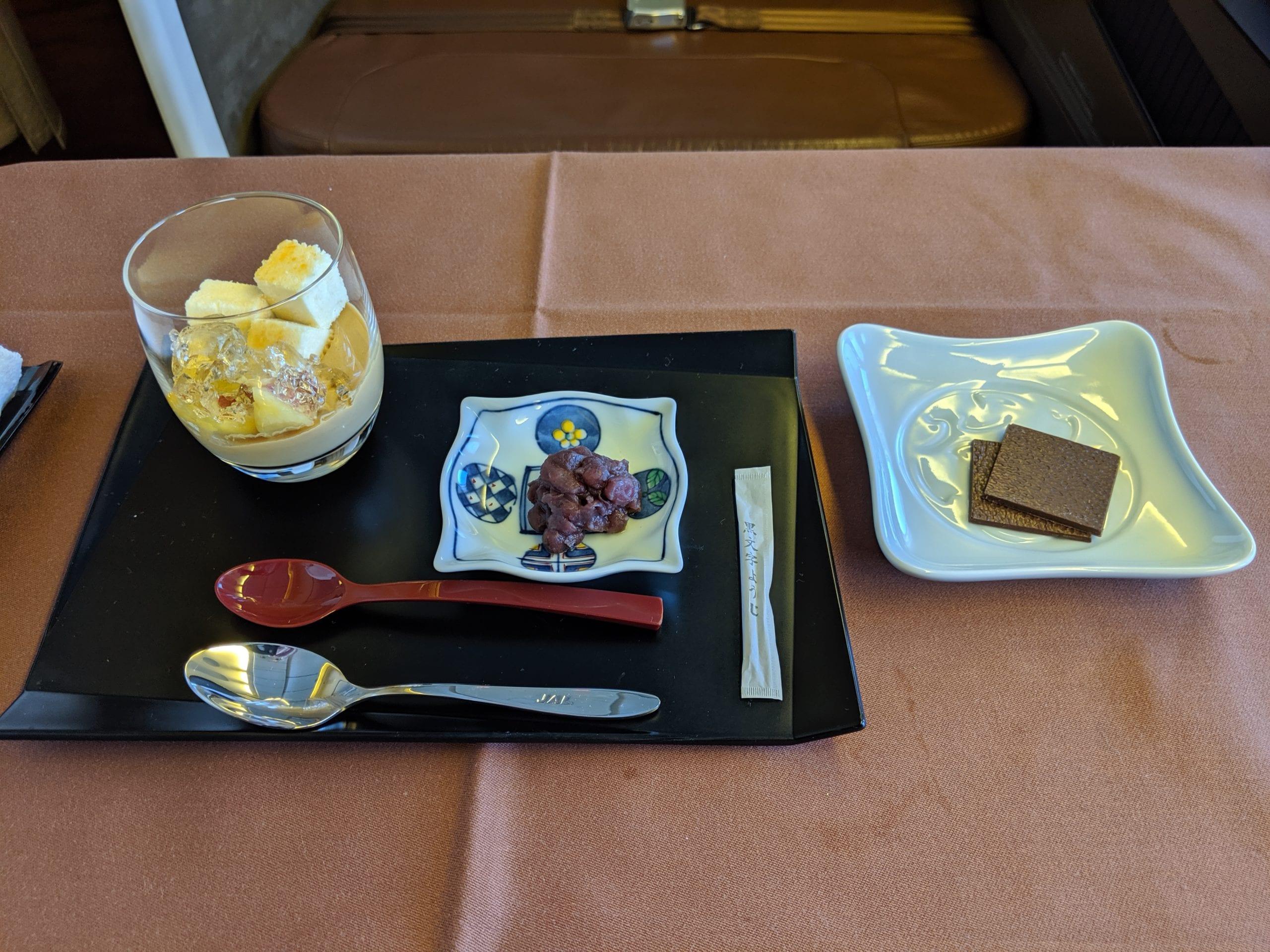japan airlines first class dessert