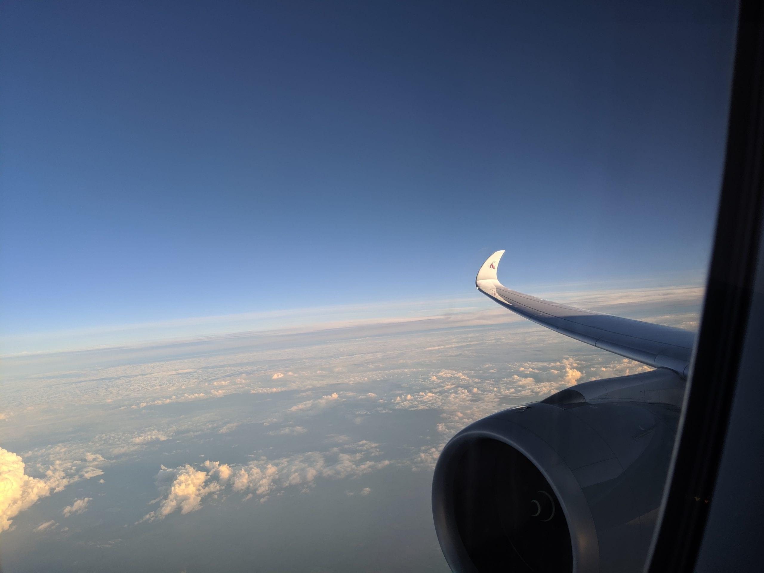 qatar airways wing view