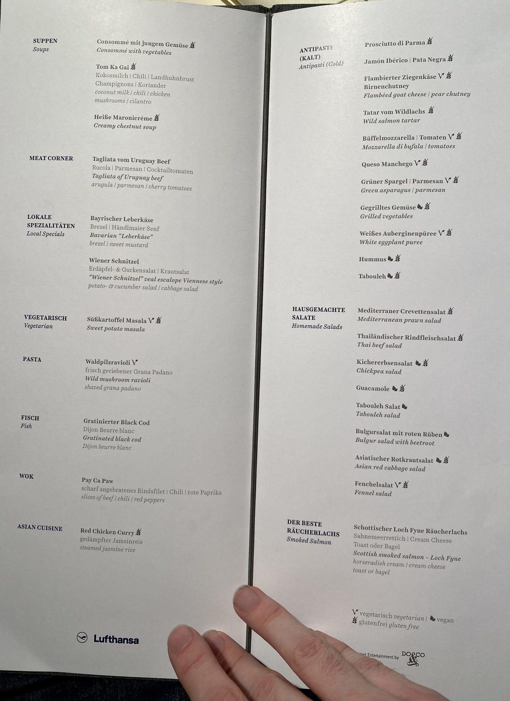 Lufthansa first class terminal menu