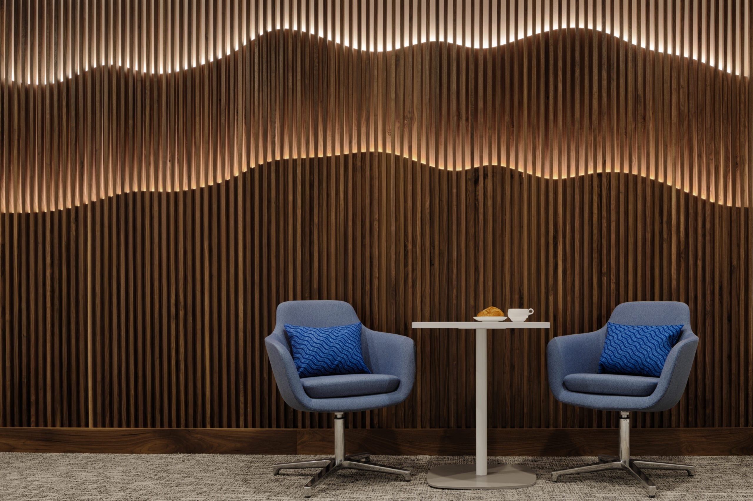 Hollywood Hill seating area at the Centurion Lounge at LAX scaled