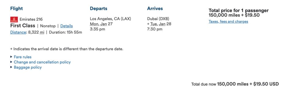 emirates first class booking alaska