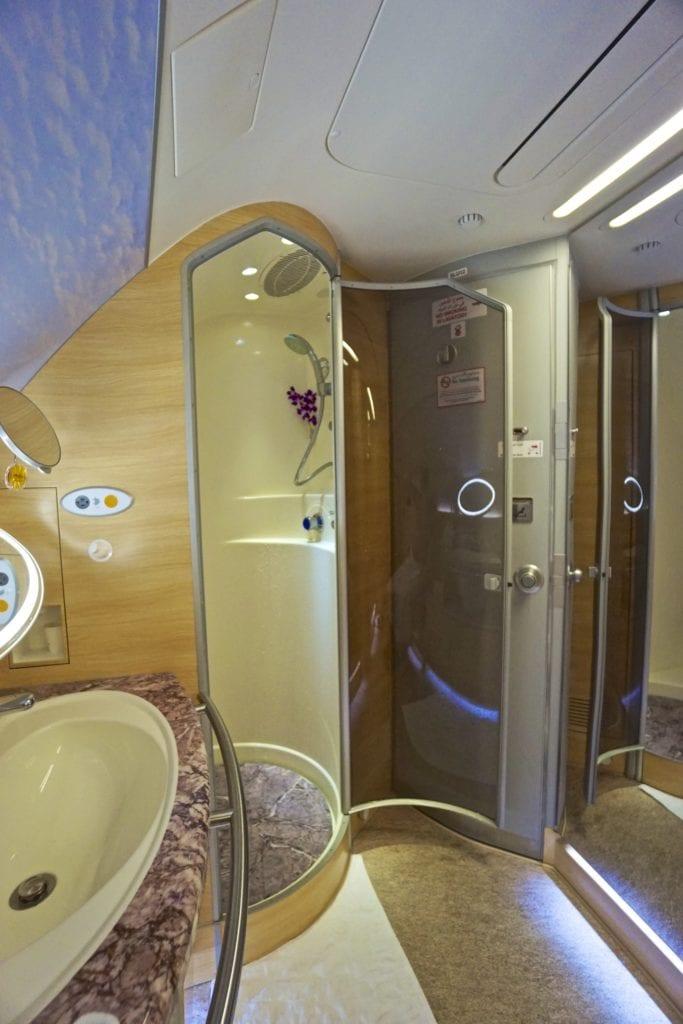 Etihad First Class shower
