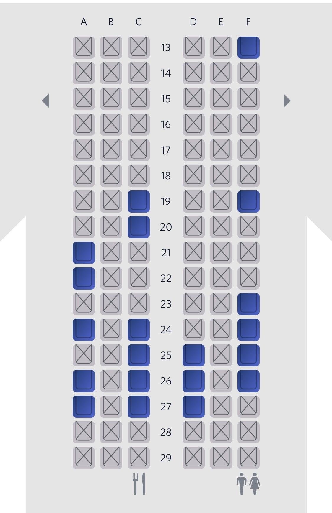 delta blocking middle seats