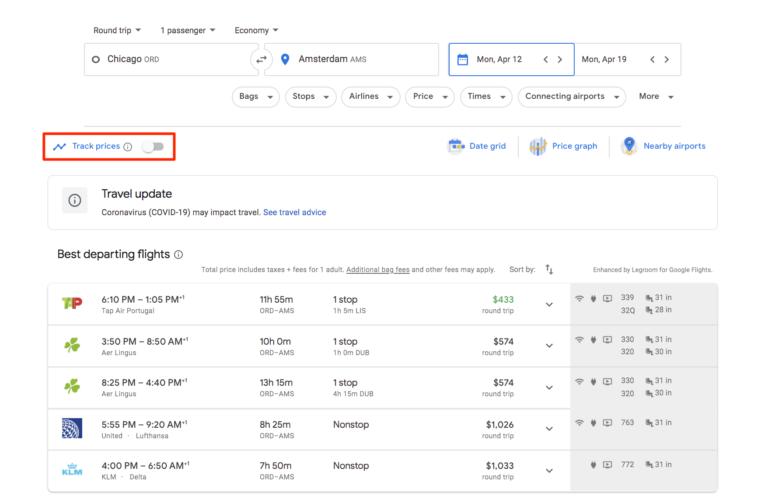 Travel update of Google Flights