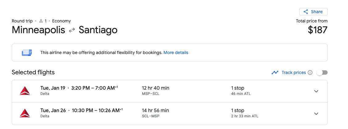 Minneapolis to Santiago Chile flight