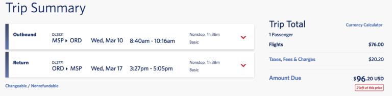 Google flights Air Ticket summary