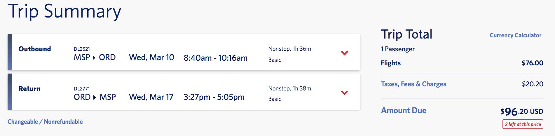 google flights trip summary