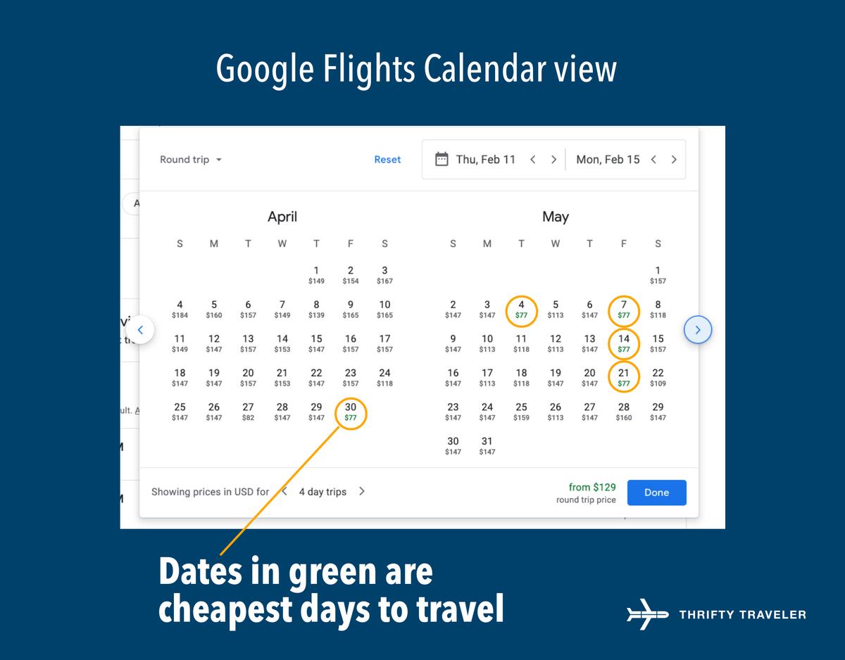 google flights calendar view