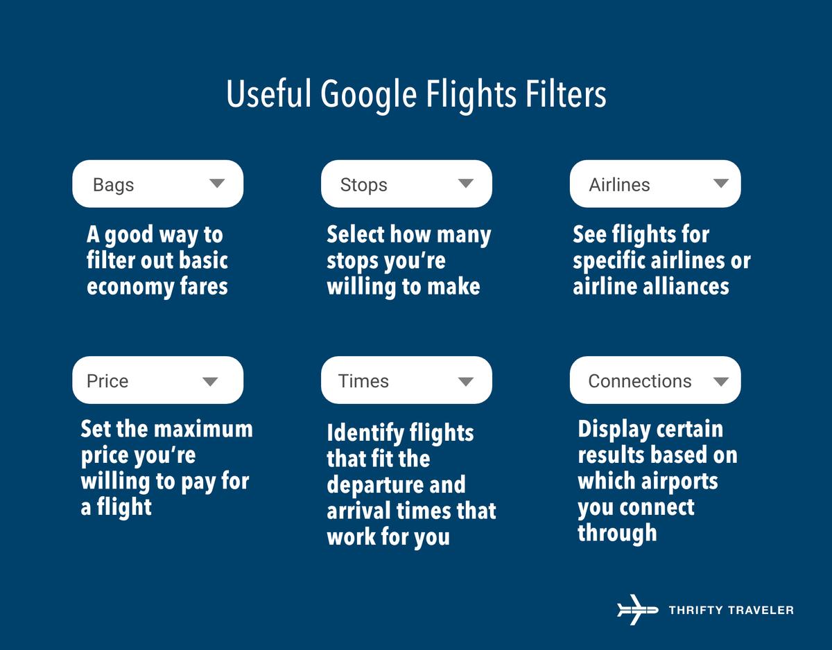 google flights filters