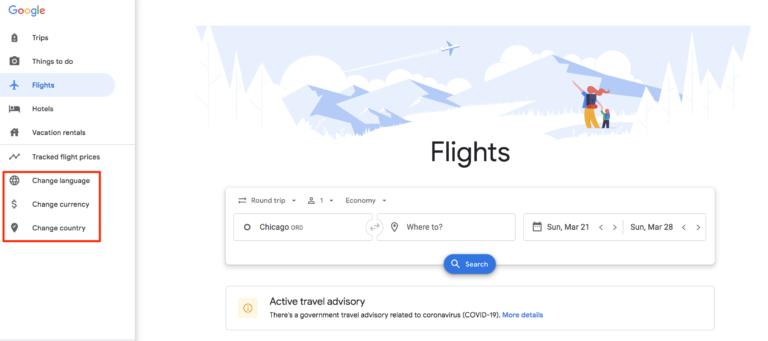 change language in Google flights