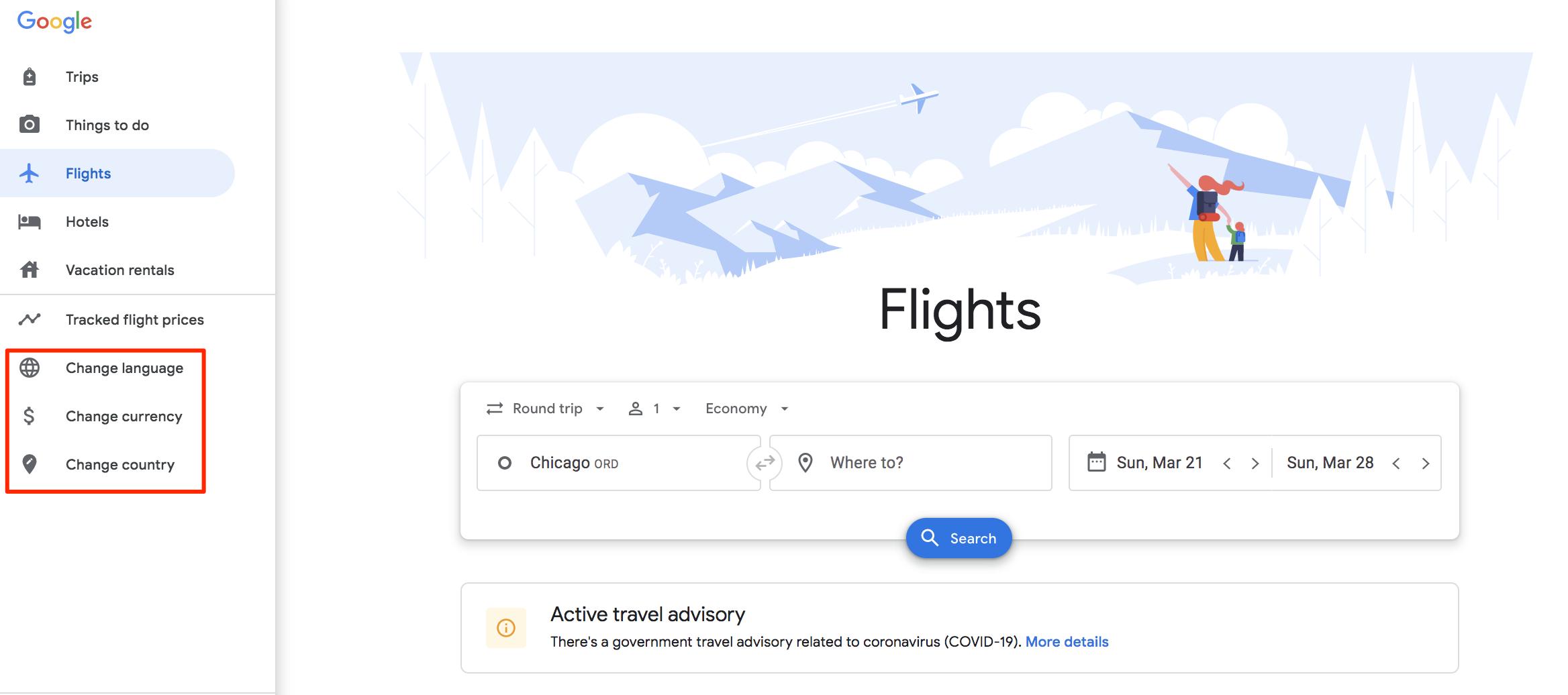 google flights menu settings