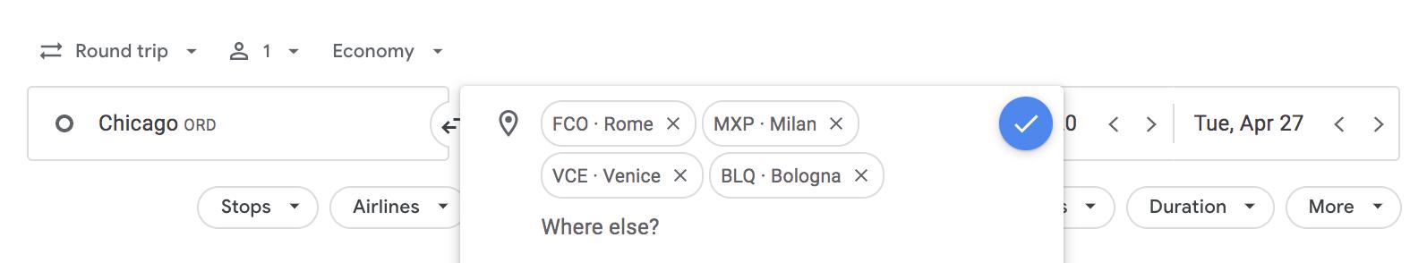 google flights multiple cities