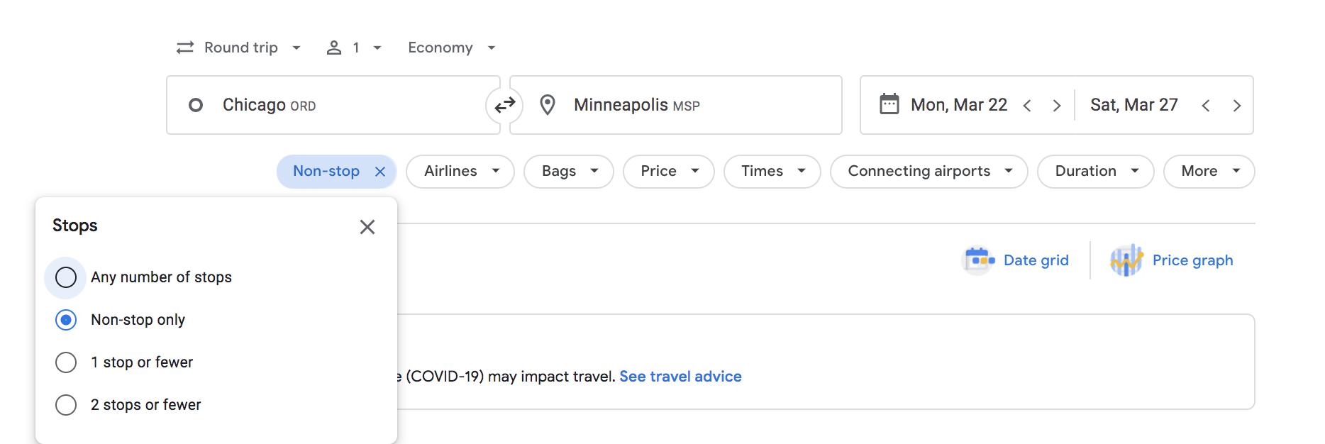 google flights stops filter