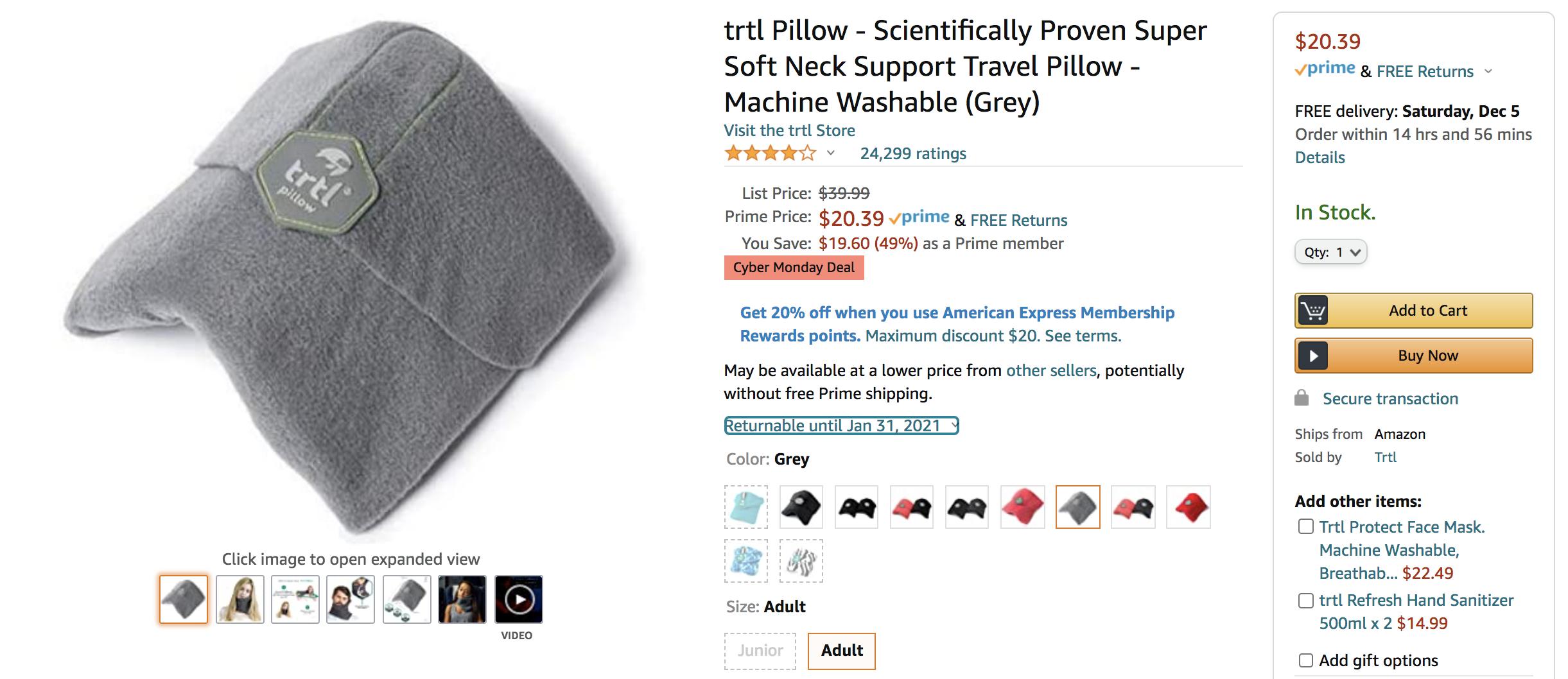 trtl travel pillow amazon