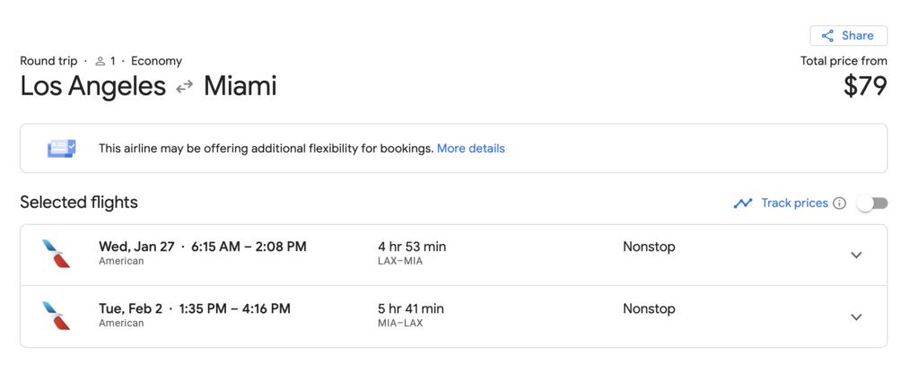 la to Miami flights