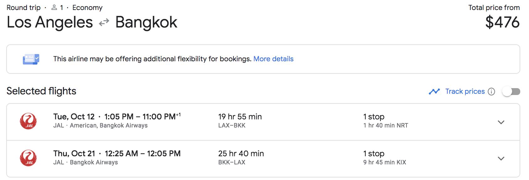 lax to bangkok flights