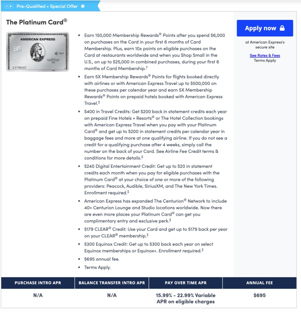 Amex Platinum CardMatch 150k point offer