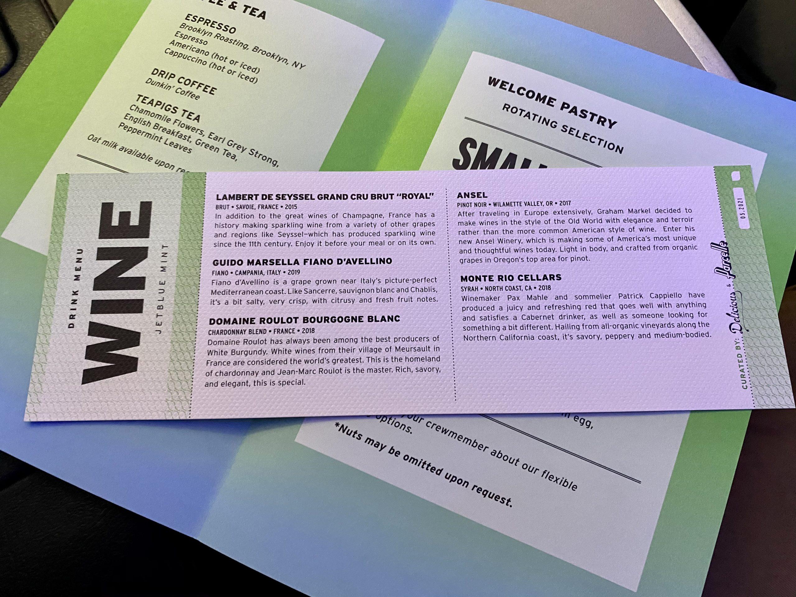 jetblue mint wine list