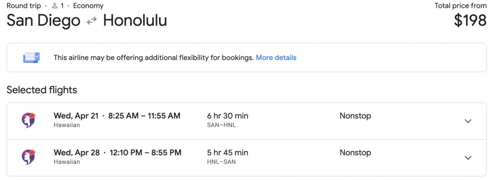 honolulu flight deal