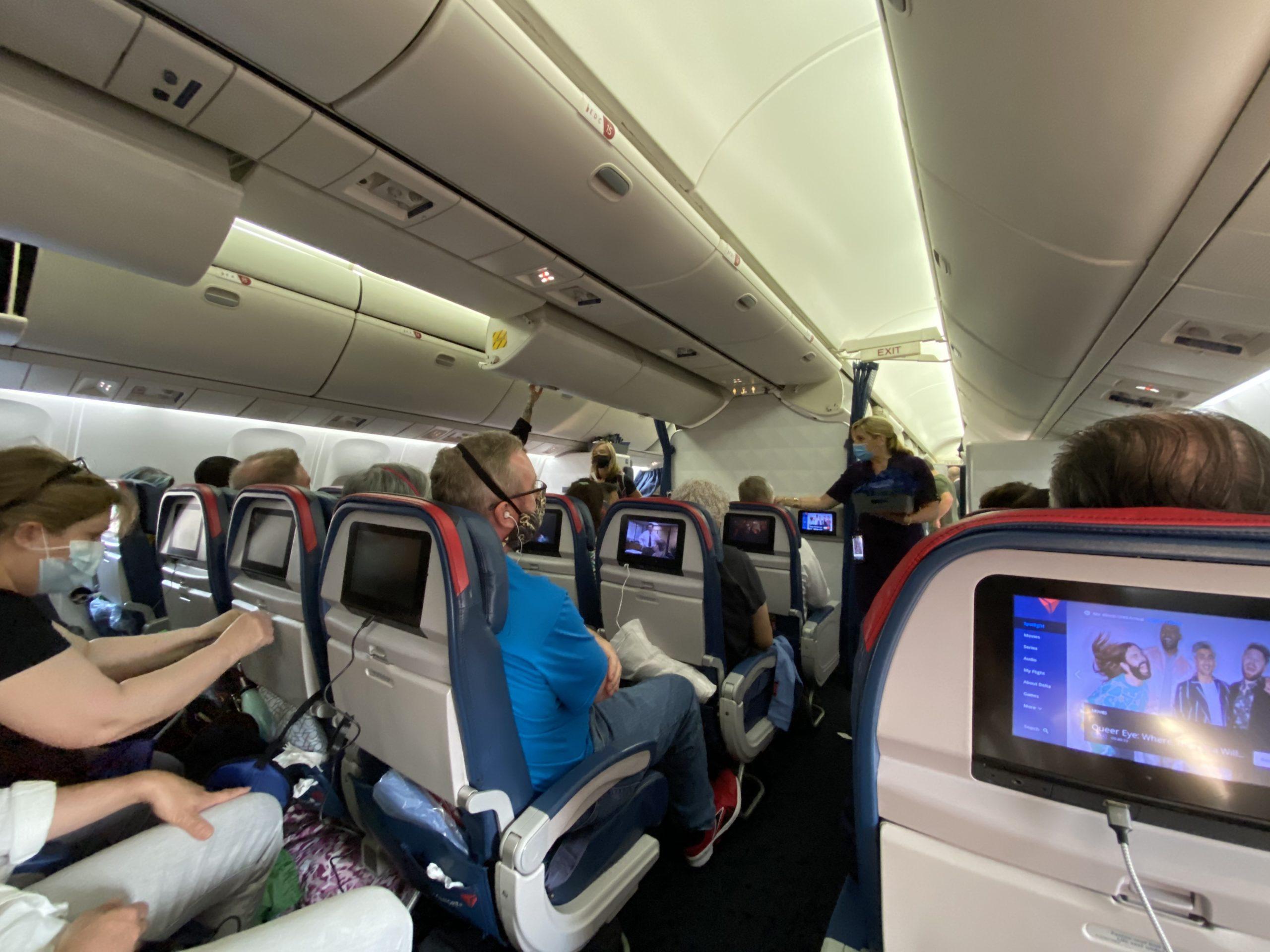 flying to europe plane full