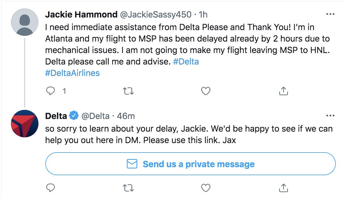 delta call wait times twitter