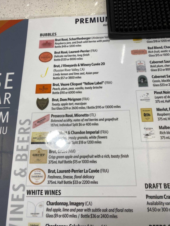 delta sky club champagne menu