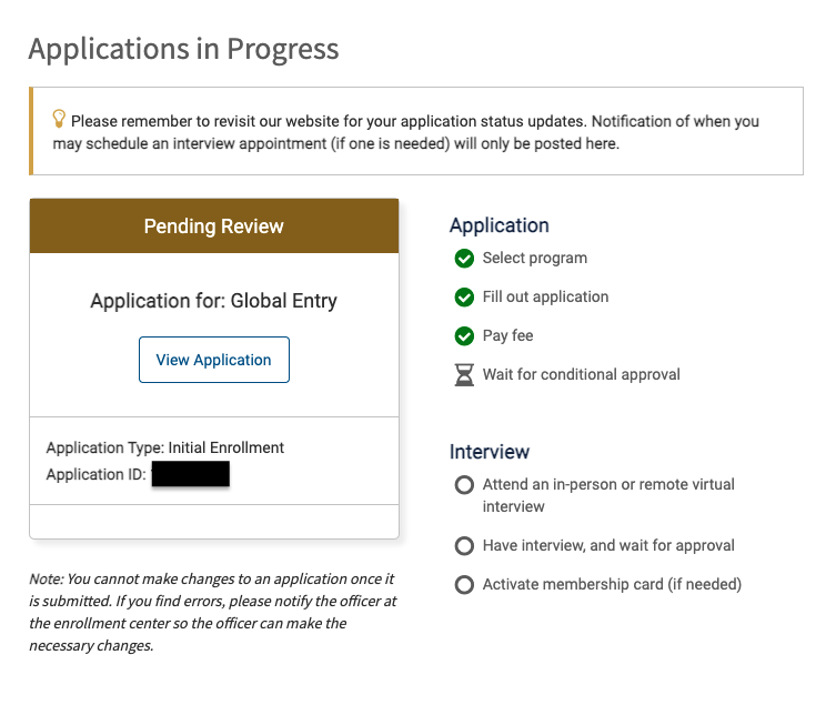 Global Entry Conditional Approval
